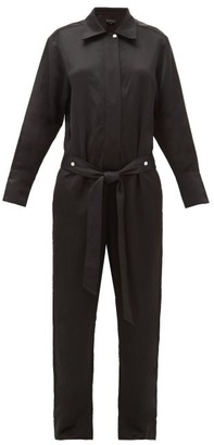 Lee Mathews Juliette Belted Satin Jumpsuit - Black