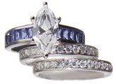 Sterling Silver Rhodium Cubic Zirconium Wedding Ring Set with 2 Band Cubic Zirconium