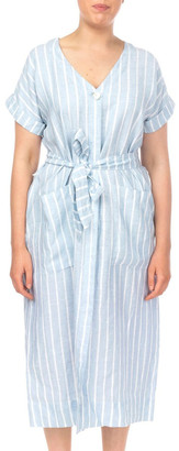 PINGPONG Drop Shoulder Stripe Linen Dress