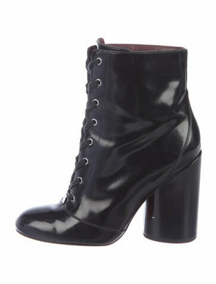 Marc Jacobs Patent Leather Printed Lace-Up Boots Black