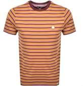 Pretty Green Gordon Feeder Stripe T Shirt Orange