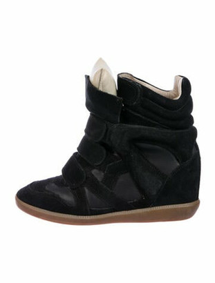 Isabel Marant Suede Cutout Accent Wedge Sneakers Black