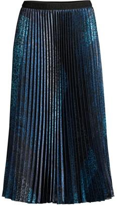 Elie Tahari Sue Animal-Print Pleated Midi Skirt