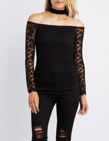 Charlotte Russe Lace Floating Choker Neck Top