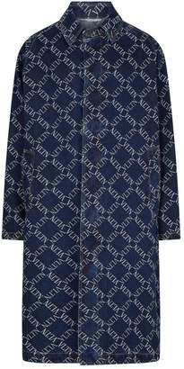 Valentino Logo Grid Print Denim Coat