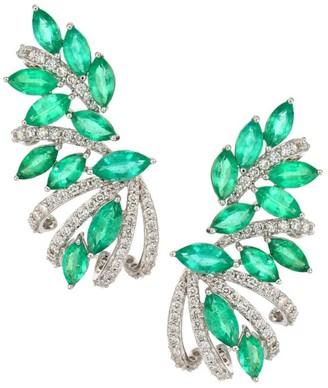 Hueb Botanica 18K White Gold, Diamond & Emerald Ear Crawlers