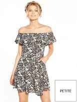 Miss Selfridge Petite Black Print Bardot Dress