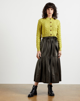 Ted Baker TALKER Leather Pleated Wrap Skirt