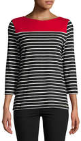 Imnyc Isaac Mizrahi Striped Boat neck Top