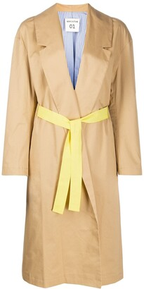 Semi-Couture Long Sleeve Belted Waist Coat