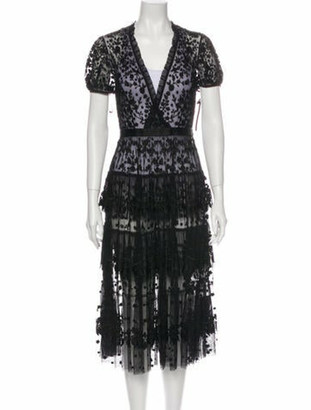 Needle & Thread Lace Pattern Midi Length Dress w/ Tags Black