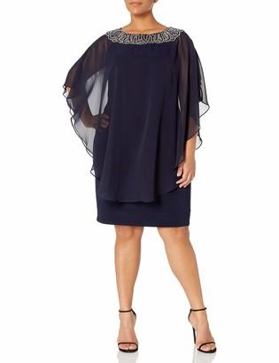 Xscape Evenings Women's Plus Size Short Chiffon Overlay W/Bead Top