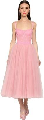 Dolce & Gabbana Bustier Stretch Tulle Midi Dress