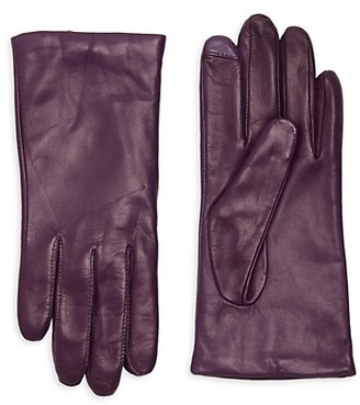 Saks Fifth Avenue Leather Cashmere Lined Tech Gloves