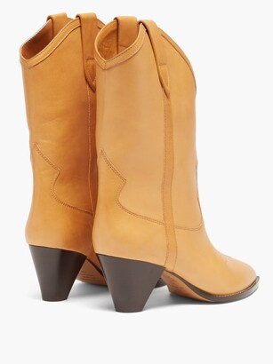Isabel Marant Luliete Topstitched Leather Ankle Boots - Beige
