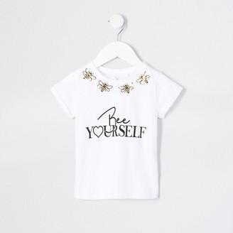 River Island Mini girls white 'Bee Yourself' t-shirt