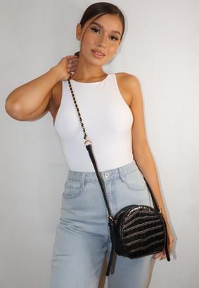 Missguided Black Croc Round Cross Body Bag