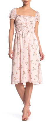 Rowa Smocked Bodice Square Neck Midi Dress