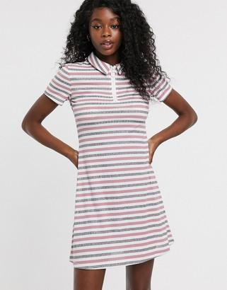 Urban Bliss zip front dress in stripe