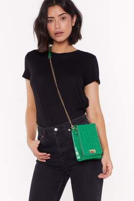 Nasty Gal Womens WANT Can't Croc Me Down Faux Leather Crossbody Bag - green - One Size