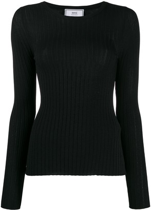 Ami Crew Neck Ribbed Jumper