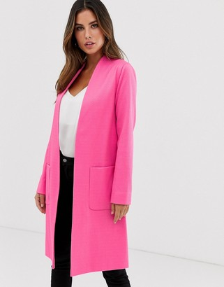 Helene Berman Edge to Edge duster coat in neon jacquared