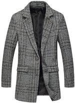 QZUnique Men's Fashion Classical Slim Fit Lapel Collar Casual Long Wool Coat