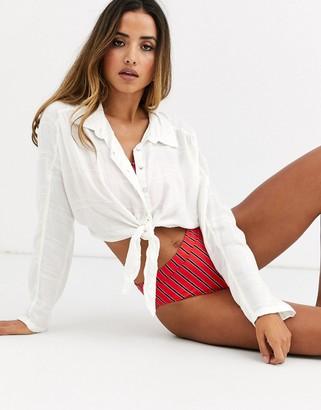 Billabong Sunset Session tie beach shirt in white