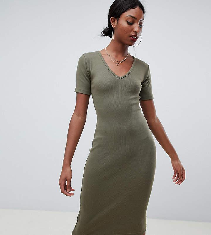 Missguided Tall ribbed midi dress in khaki