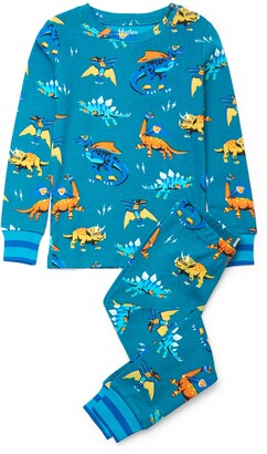 Hatley Kids' Superhero Dinos Organic Cotton Fitted Two-Piece Pajamas