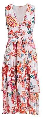 Banjanan Women's Eliza Floral Tier-Skirt Tie-Waist Midi Dress