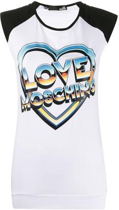 Love Moschino cap sleeve heart-print T-shirt