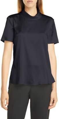 BOSS Ilesha Mock Neck Short Sleeve Stretch Silk Top