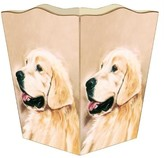 The Well Appointed House Golden Retriever Decoupage Wastebasket and Optional Tissue Box