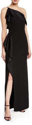 Halston One-Shoulder Satin Drape Gown