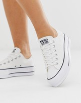 Thumbnail for your product : Converse Chuck Taylor Ox platform white trainers