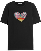 Bella Freud Sunset Heart Intarsia Cotton And Cashmere-blend Top - Black