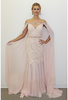 Terani Couture Sleeveless Sweetheart with Cape Lace Gown 1711M3368