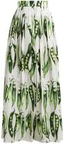Dolce & Gabbana Broad bean-print cotton-blend skirt