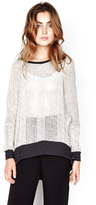 Michael Lauren Fred Cape Sweater in Cream/Charcoal