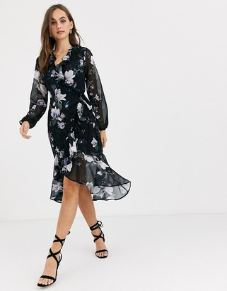 Lipsy ruffle wrap front midi dress in black floral print