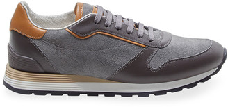 Brunello Cucinelli Men's Exclusive Suede/Leather Low-Top Sneakers