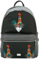 Dolce & Gabbana Volcano rooster print backpack - men - Calf Leather/Leather - One Size