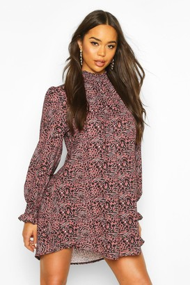 boohoo Leopard Print Shirred Neck Shift Dress