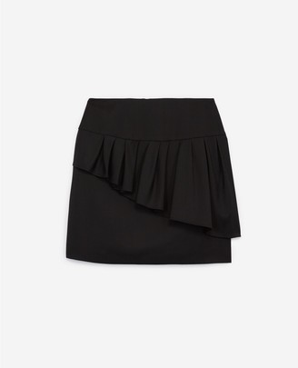 The Kooples Black short frilly skirt in stretch wool