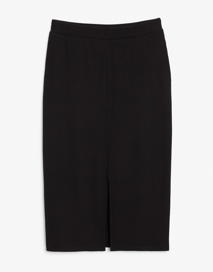 Thumbnail for your product : Monki Dolly midi skirt with split side in black