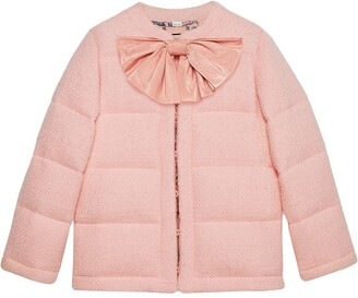 Gucci Padded tweed jacket with bow