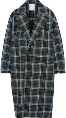 Tibi Spencer Double-breasted Checked Woven Coat