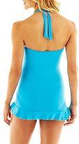 JCPenney a.n.a® Shirred Halter 1-Piece Swimdress