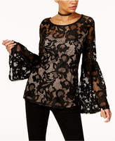 INC International Concepts Petite Lace Bell-Sleeve Top, Created for Macy's